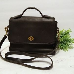 Coach Vintage Black Leather Messenger Bag Purse